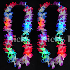 100 PCS Light-Up Lei Hawaiian LED Luau Necklace Flashing Rave Blinking Flower