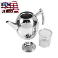 New Stainless Steel Teapot Coffee Pot with Tea Leaf Infuser Filter 1L