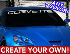 """CUSTOM CORVETTE """"ANY TEXT"""" DECAL STICKER Any 1 Color SEE PIC"""