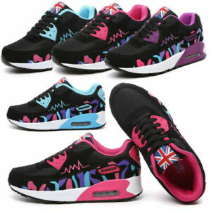 LADIES WOMENS TRAINERS GYM FITNESS RUNNING JOGGING LACE UP SHOES SIZE