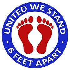 Social Distancing Floor Decals Stickers, UNITED WE STAND 6 FEET APART 5 Pack