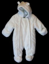 Baby Boys Girls George White Embossed Stars Hooded Pram Snowsuit Age 0-3 Months