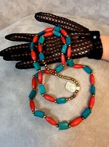 Vintage India Bone Brass Necklace Handmade Genuine Bone Brass Bead Necklace