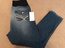 2c08aff4e30 Tala Embroidered Fray Front 3x SKINNY Fit Stretch Denim Maternity Jeans Jcp7
