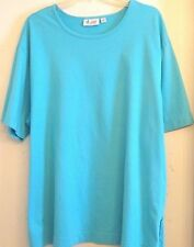 D & CO. ESSENTIALS 2X TOP SOLID TURQUOISE S/S ROUNDED COLLAR NEW