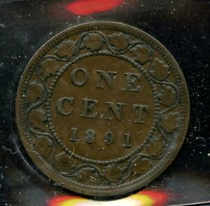 1891 Canada Large Cent - ICCS VF-30 - Large Leaves Small Date; Obverse 3