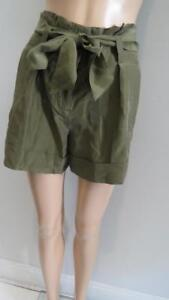 NWT Theory 'ETTIE' Olive Green Silk w Removable Belt Short Size 00 RET $150