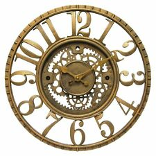 Open Dial Gears Wall Clock Antique Gold Finish Steampunk Industrial Style Decor