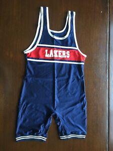 Vintage Lakers Wrestling Singlet RWB Matman XL Blue Mens Match Worn Team Gear