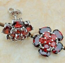 Flower Red Garnet Silver Stud Earrings Brand New