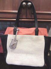 Preowned DVF Diane Von Furstenberg On The Go  Raffia & Leather Tote Bag Purse