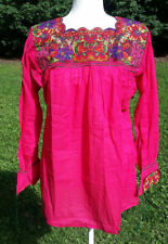 Maya Mexican Blouse Top Shirt Embroidered Cross Stitch Chiapas Large Pink 211
