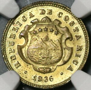 1936 NGC MS 64 Costa Rica 10 Centimos Mint State Brass Coin (21063002C)