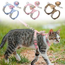 Cat Harness and Leash for Walking Escape Proof Pink Blue Adjustable Kitten Vest