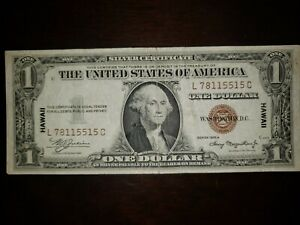 1935 A Hawaii WWII $1 Brown Seal Silver Certificate Emergency Note