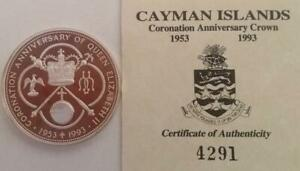 Cayman Islands 1993 Coronation Anniversary Coin $5 Silver Proof With COA