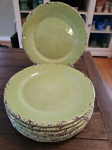 "Il Mulino Lime Green Crackle Rustic MELAMINE Dinner Plates 11"" -  Set Of 8"