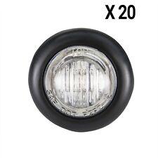 "3/4"" Clear Led Trailer Bullet Light Clearance Marker Black Trim Ring 20 Pk"