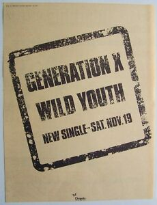 GENERATION X 1977 original POSTER ADVERT WILD YOUTH billy idol