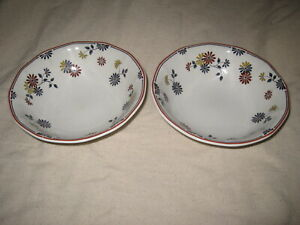 """2 Adams VERMONT 6"""" Cereal Bowls Ironstone Made in England"""