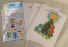 Vintage Care Bears Christmas Holiday Greeting Cards Bonus Sealed Sticker Pack