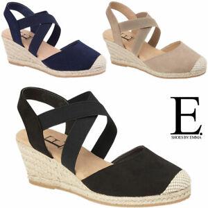 Ladies Wedge Sandals Cushion Foam Espadrille Summer Platform Party Strappy Shoes