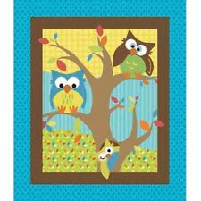 Bright Owl Quilt Top Nursery Fabric by Springs Creative Fabric by the Panel