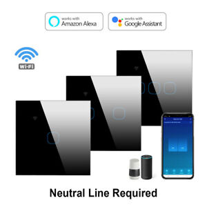 WIFI Smart Light Touch Switch 3 Gang Controller Wall Panel for Alexa Google Home