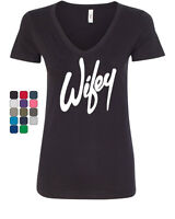 Wifey V-Neck T-Shirt Wife Bride Wedding Marriage