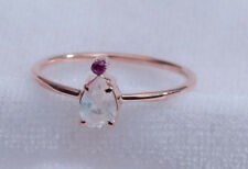 18K solid gold ring~rainbow moonstone ring~ruby ring~gemstone ring~fine~SJR1000
