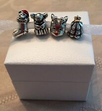 (4) Authentic PANDORA Christmas Charms w/Box!!