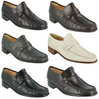 CLAPHAM- MENS GRENSON SLIP ON LEATHER MOCCASIN STYLE FORMAL OCCASION SHOES FIT G