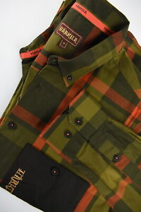 HARKILA 1401095 Men's MEDIUM Checked Stretchy Patch Pocket Khaki Shirt 33403_GS