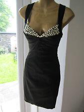Jane Norman Size 8 6 Black Jewel Low Cross Back Pencil Bodycon Dress