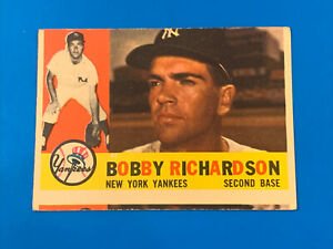 """1960 Topps #405 Bobby Richardson Miscut Front Perfect Back """"Ernz Got It"""" Cards"""