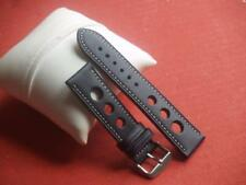 22mm BLACK LEATHER GRAND PRIX WITH WHITE STITCHING WATCH STRAP SS