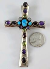 Large Nakai Sterling Silver Cross Pendant for Necklace Amethyst Turquoise Garnet