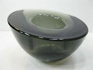 ORREFORS Art Glass Votive Candle Holder MCM Retro Slanted Style Smokey Gray