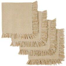 New Linen Homespun Check Cotton Napkins Fringed Cotton Beige Napkins Set of 4