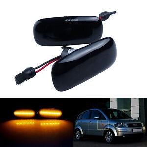 2X Pour Audi A3 S3 A4 A6 A8 TT 8N Noire Latéraux Répétiteur LED Clignotant Jaune