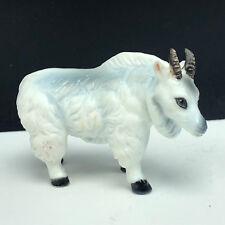 Bone China animal miniature figurine vintage Japan white mountain goat horns 2