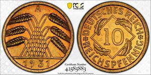 Germany 1931-A 10 Pfennig, KM-40, PCGS PR65