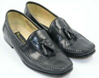 Stacy Adams Mens Black Leather Tassel Loafers Shoes Size 9M
