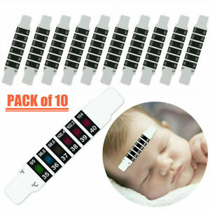 10Pcs FOREHEAD THERMOMETER STRIP HEAD SCAN BABY ADULT TEMPERATURE TEST CHECK