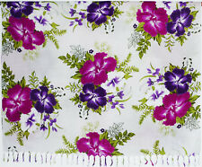 Sarong . Pareo . Wickeltuch Tuch Strandkleid Blumen weiß lila violett pink . NEU