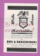 BERLIN, Werbung 1928, Bös & Radziminski Herren-Hüte Wolle Marke Bora