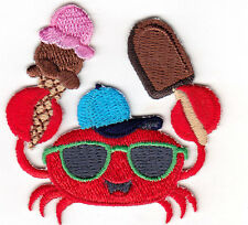 SEA CRAB w/ICE CREAM- IRON ON EMBROIDERED PATCH - SEA CREATURES - OCEAN - BEACH