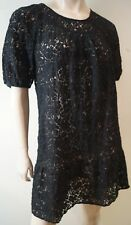 GERARD DAREL Women's Black Sheer Lace Short Sleeve Boho Tunic Dress Sz:38 UK10