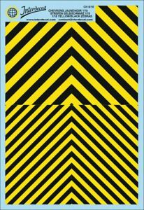 Chevrons 1/18 (190 x 130 mm) red/fluo yellow Waterslide decal CH6-18