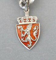 NORWAY ~ Einar Modahl ~ Vintage Sterling Silver Enamel Travel Shield Charm